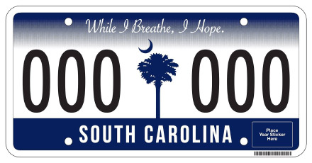 South Carolina License Plate Design
